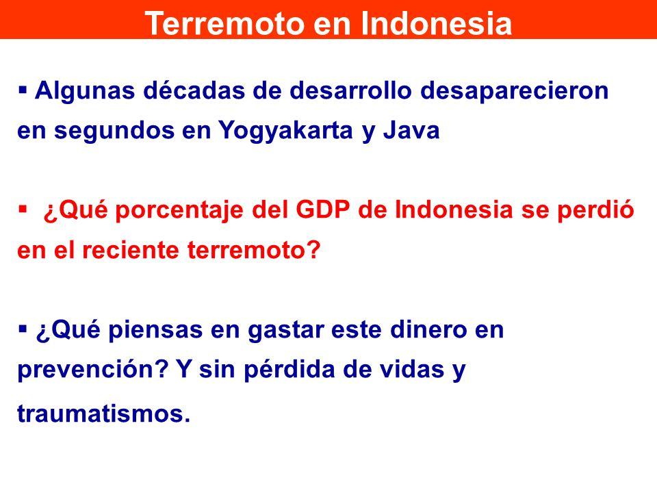 Algunas décadas de desarrollo desaparecieron en segundos en Yogyakarta y Java ¿Qué porcentaje del GDP de Indonesia se perdió en el reciente terremoto?