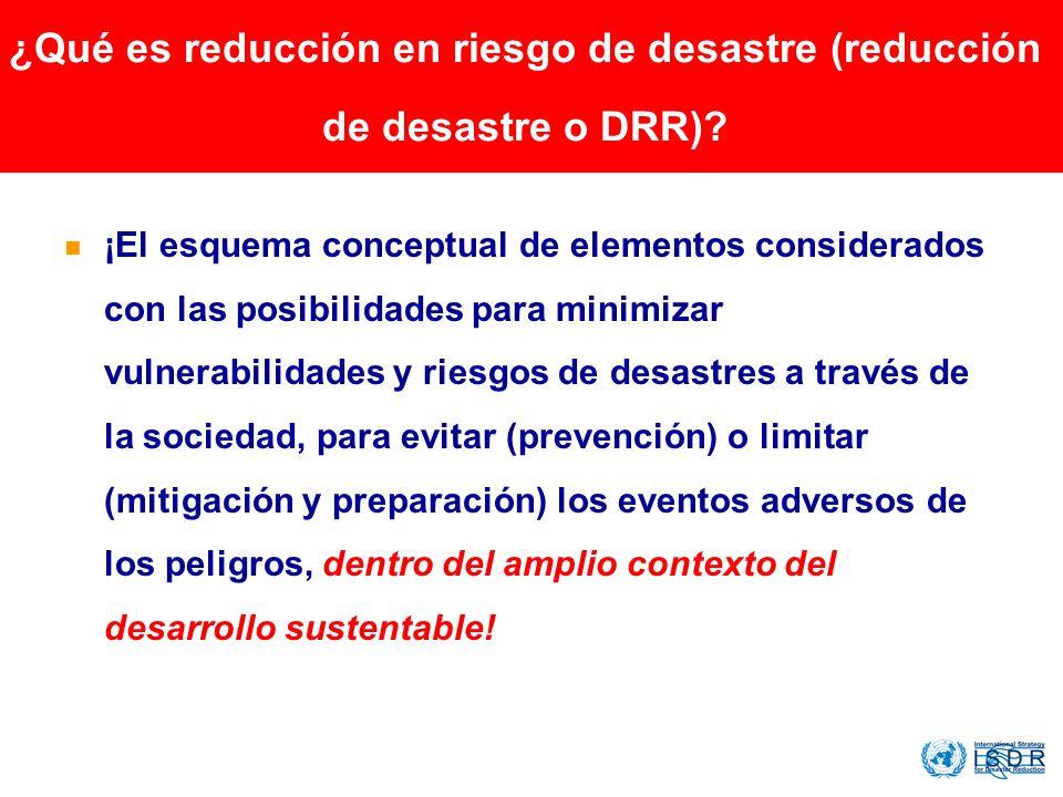 ¿Qué es reducción en riesgo de desastre (reducción de desastre o DRR)? ¡El esquema conceptual de elementos considerados con las posibilidades para min