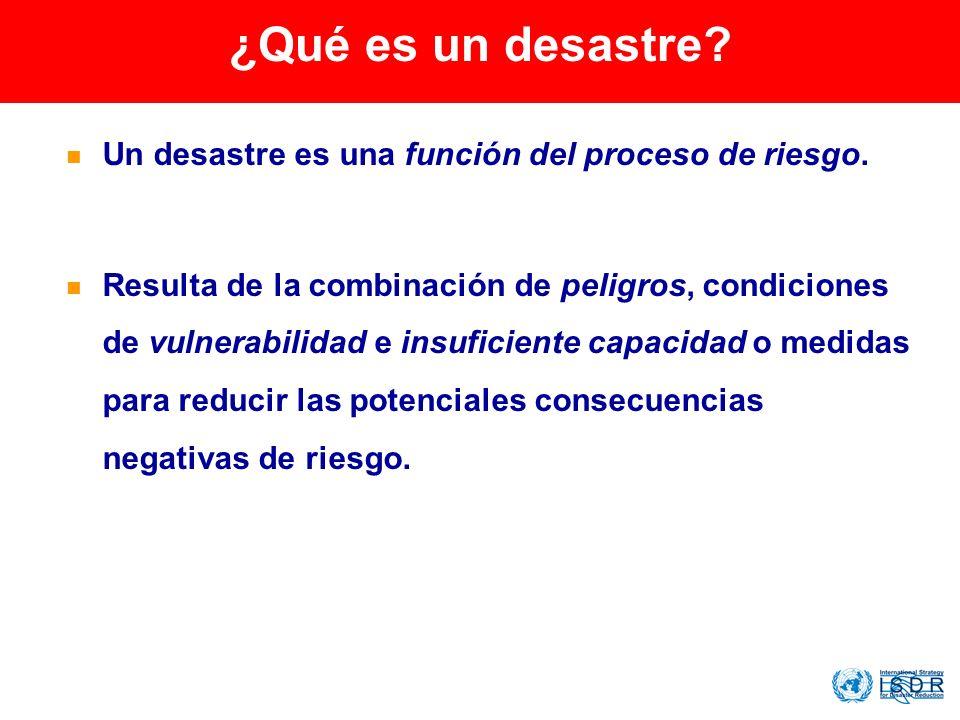 ¿Qué es un desastre? Un desastre es una función del proceso de riesgo. Resulta de la combinación de peligros, condiciones de vulnerabilidad e insufici