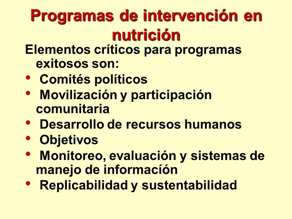 Programas de intervención en nutrición Elementos críticos para programas exitosos son: Comités políticos Movilización y participación comunitaria Desa