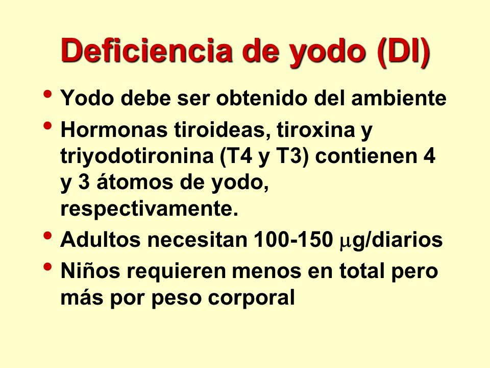Deficiencia de yodo (DI) Yodo debe ser obtenido del ambiente Hormonas tiroideas, tiroxina y triyodotironina (T4 y T3) contienen 4 y 3 átomos de yodo,