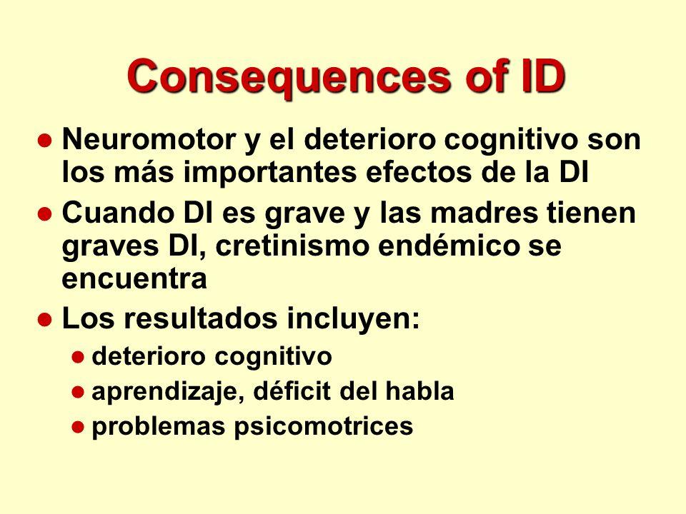 Consequences of ID l Neuromotor y el deterioro cognitivo son los más importantes efectos de la DI l Cuando DI es grave y las madres tienen graves DI,