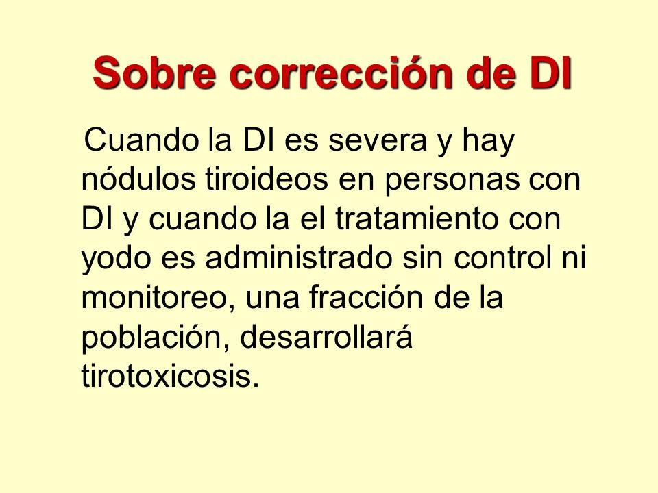 Sobre corrección de DI Cuando la DI es severa y hay nódulos tiroideos en personas con DI y cuando la el tratamiento con yodo es administrado sin contr