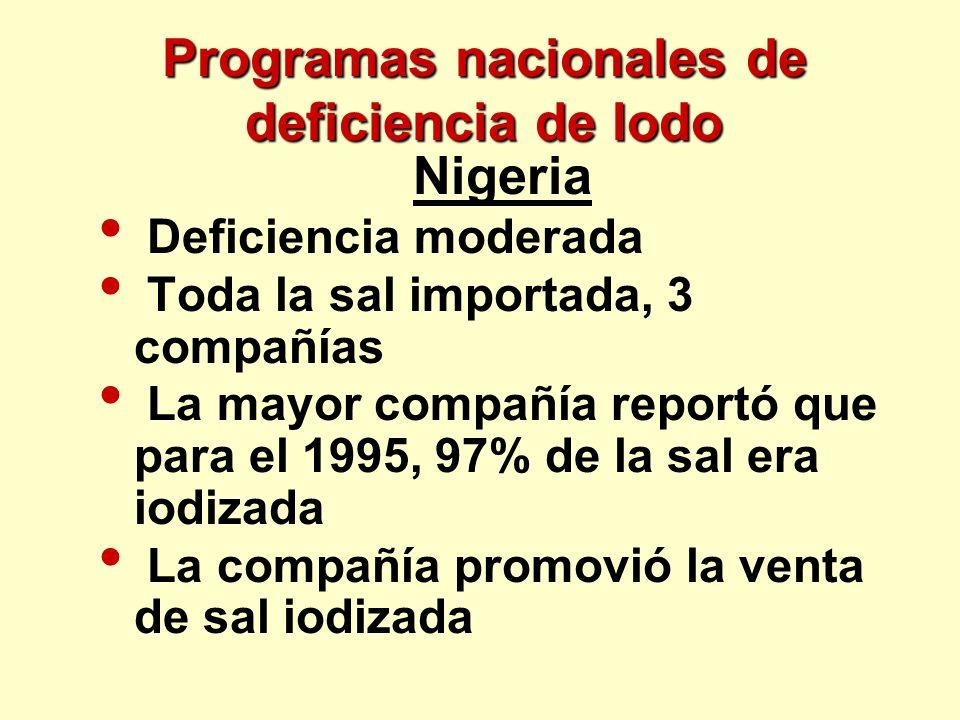 Programas nacionales de deficiencia de Iodo Nigeria Deficiencia moderada Toda la sal importada, 3 compañías La mayor compañía reportó que para el 1995