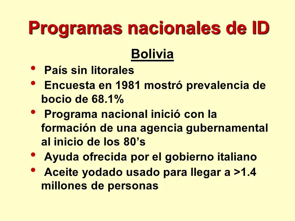 Programas nacionales de ID Bolivia País sin litorales Encuesta en 1981 mostró prevalencia de bocio de 68.1% Programa nacional inició con la formación