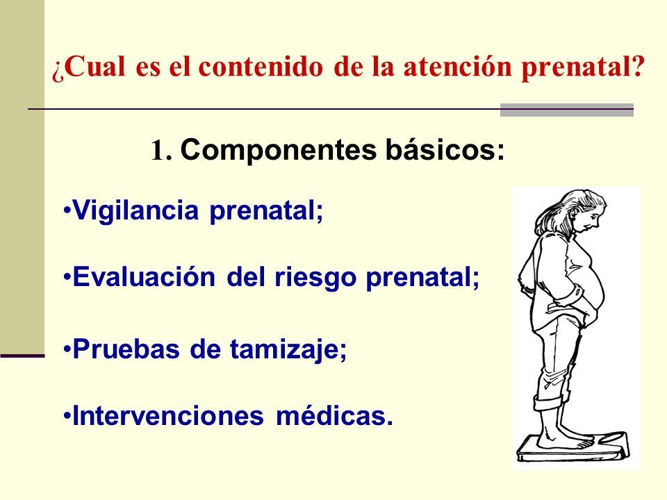 ¿Cual es el contenido de la atención prenatal? 1. Componentes básicos: Vigilancia prenatal; Evaluación del riesgo prenatal; Pruebas de tamizaje; Inter