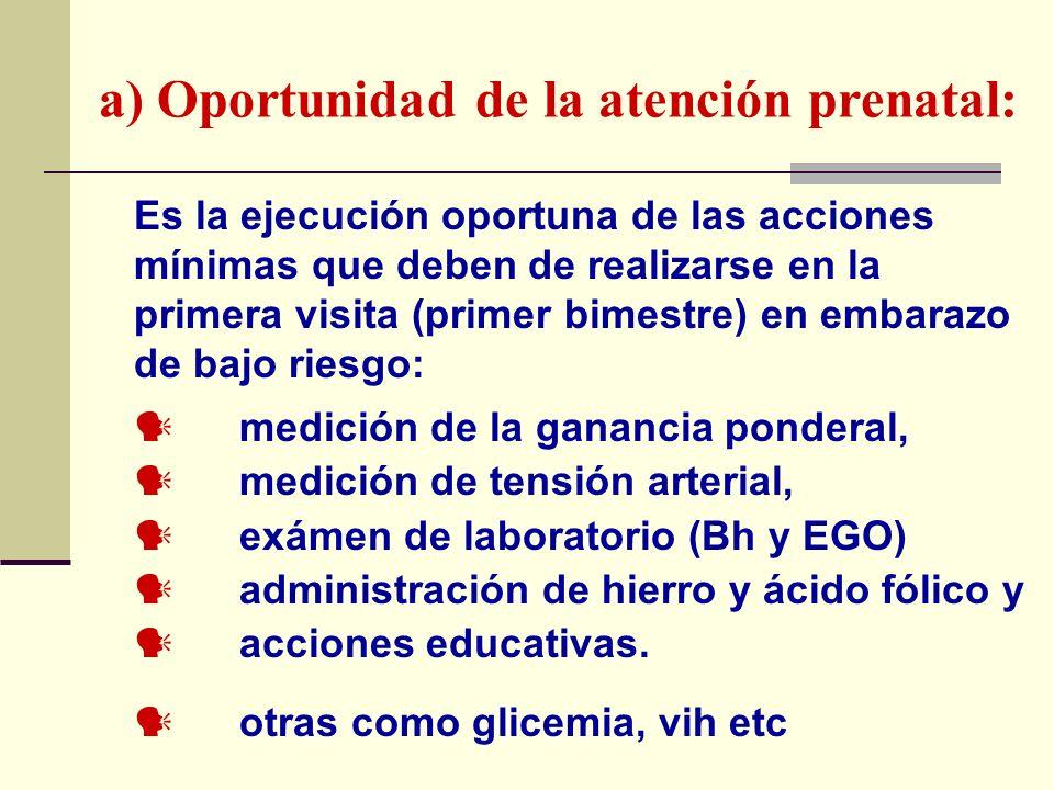 a) Oportunidad de la atención prenatal: Es la ejecución oportuna de las acciones mínimas que deben de realizarse en la primera visita (primer bimestre