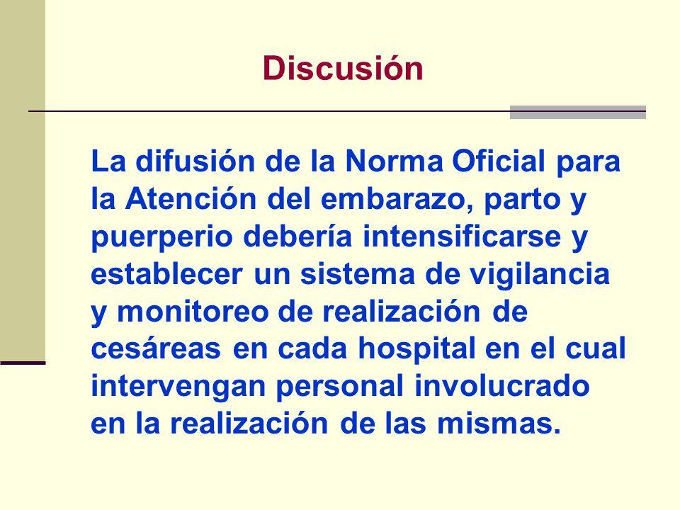 La difusión de la Norma Oficial para la Atención del embarazo, parto y puerperio debería intensificarse y establecer un sistema de vigilancia y monito