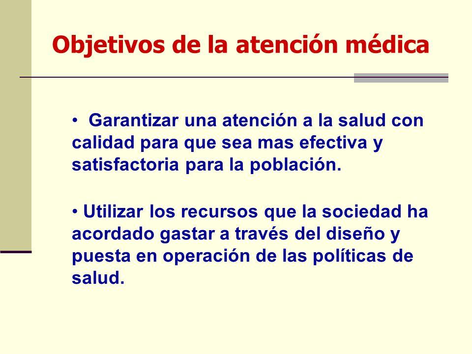 Objetivos de la atención médica Garantizar una atención a la salud con calidad para que sea mas efectiva y satisfactoria para la población. Utilizar l