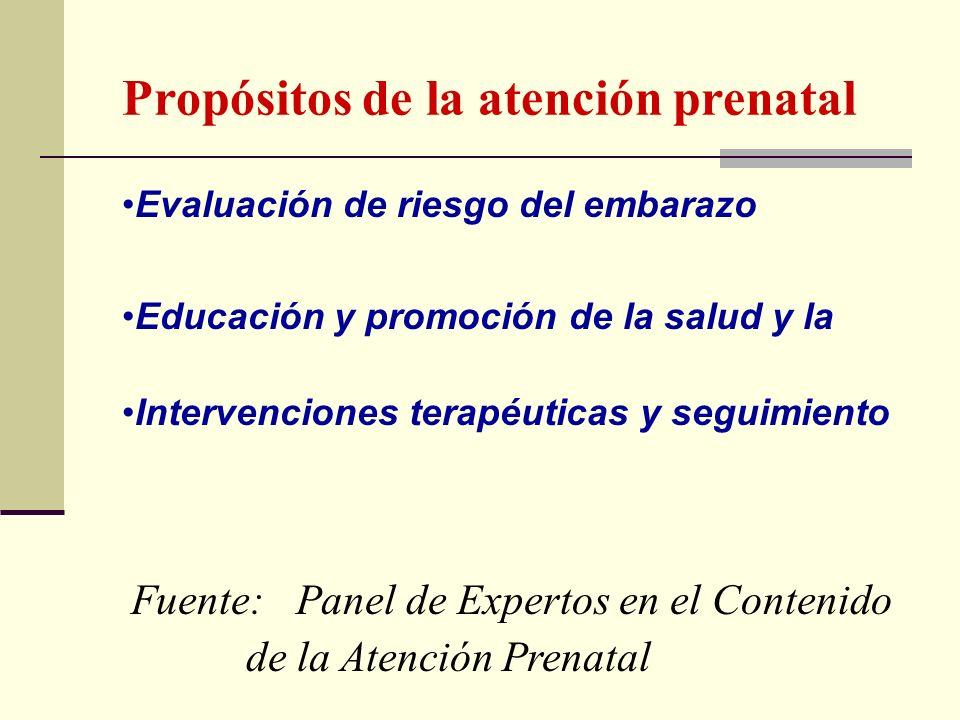 Propósitos de la atención prenatal Evaluación de riesgo del embarazo Educación y promoción de la salud y la Intervenciones terapéuticas y seguimiento