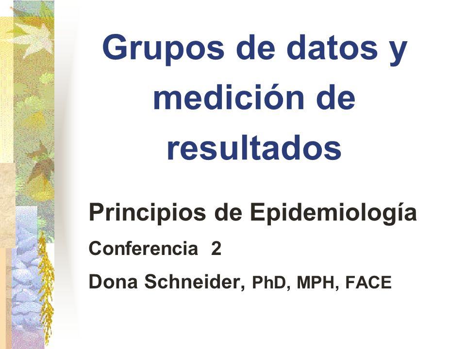 Grupos de datos y medición de resultados Principios de Epidemiología Conferencia 2 Dona Schneider, PhD, MPH, FACE