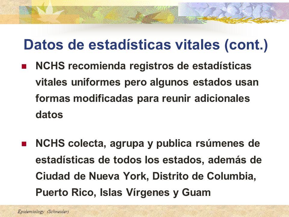 Epidemiology (Schneider) Datos de estadísticas vitales (cont.) NCHS recomienda registros de estadísticas vitales uniformes pero algunos estados usan f