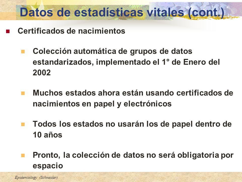 Epidemiology (Schneider) Datos de estadísticas vitales (cont.) Certificados de nacimientos Colección automática de grupos de datos estandarizados, imp