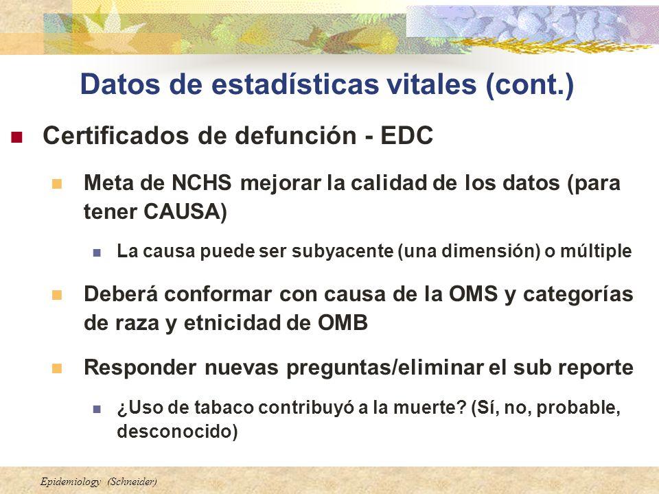 Epidemiology (Schneider) Datos de estadísticas vitales (cont.) Certificados de defunción - EDC Meta de NCHS mejorar la calidad de los datos (para tene