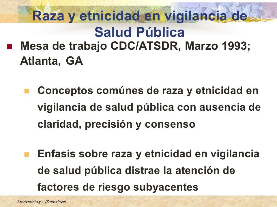 Epidemiology (Schneider) Raza y etnicidad en vigilancia de Salud Pública Mesa de trabajo CDC/ATSDR, Marzo 1993; Atlanta, GA Conceptos comúnes de raza