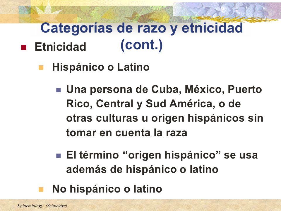 Epidemiology (Schneider) Categorías de razo y etnicidad (cont.) Etnicidad Hispánico o Latino Una persona de Cuba, México, Puerto Rico, Central y Sud A