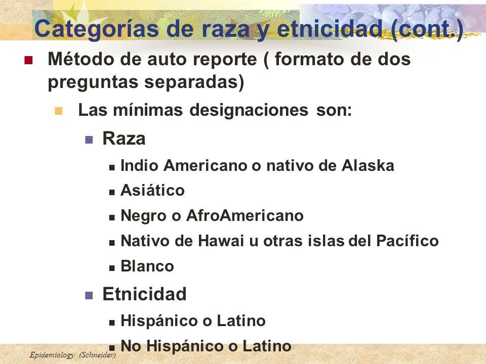 Epidemiology (Schneider) Categorías de raza y etnicidad (cont.) Método de auto reporte ( formato de dos preguntas separadas) Las mínimas designaciones
