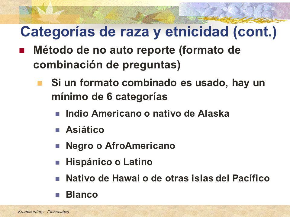 Epidemiology (Schneider) Categorías de raza y etnicidad (cont.) Método de no auto reporte (formato de combinación de preguntas) Si un formato combinad