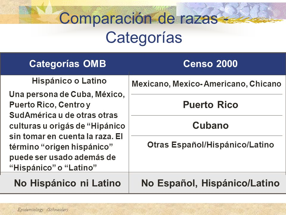 Epidemiology (Schneider) No Español, Hispánico/LatinoNo Hispánico ni Latino Otras Español/Hispánico/Latino Cubano Puerto Rico Mexicano, Mexico- Americ