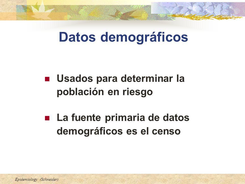 Epidemiology (Schneider) Datos demográficos Usados para determinar la población en riesgo La fuente primaria de datos demográficos es el censo