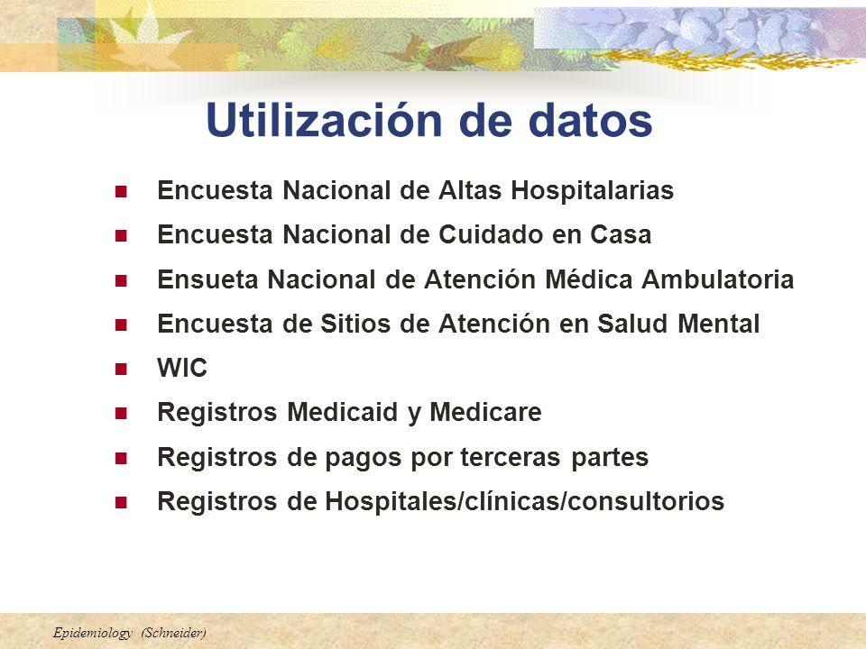 Epidemiology (Schneider) Utilización de datos Encuesta Nacional de Altas Hospitalarias Encuesta Nacional de Cuidado en Casa Ensueta Nacional de Atenci