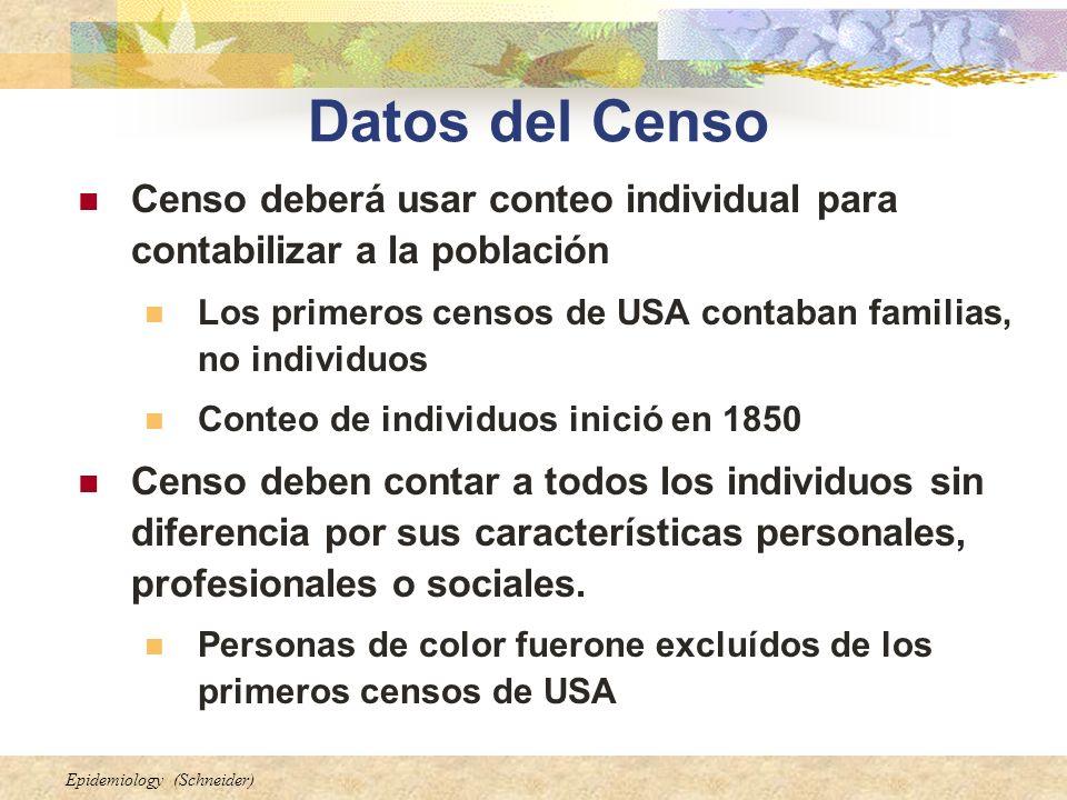Epidemiology (Schneider) Datos del Censo Censo deberá usar conteo individual para contabilizar a la población Los primeros censos de USA contaban fami