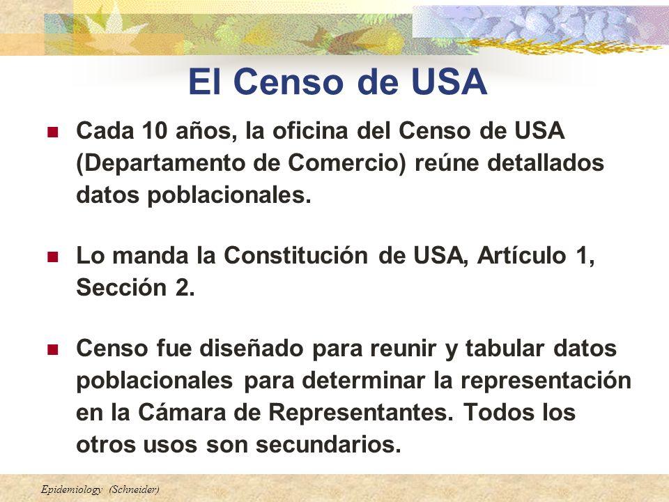 Epidemiology (Schneider) Cada 10 años, la oficina del Censo de USA (Departamento de Comercio) reúne detallados datos poblacionales. Lo manda la Consti
