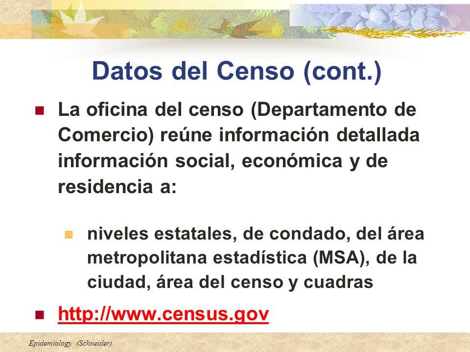 Epidemiology (Schneider) Datos del Censo (cont.) La oficina del censo (Departamento de Comercio) reúne información detallada información social, econó