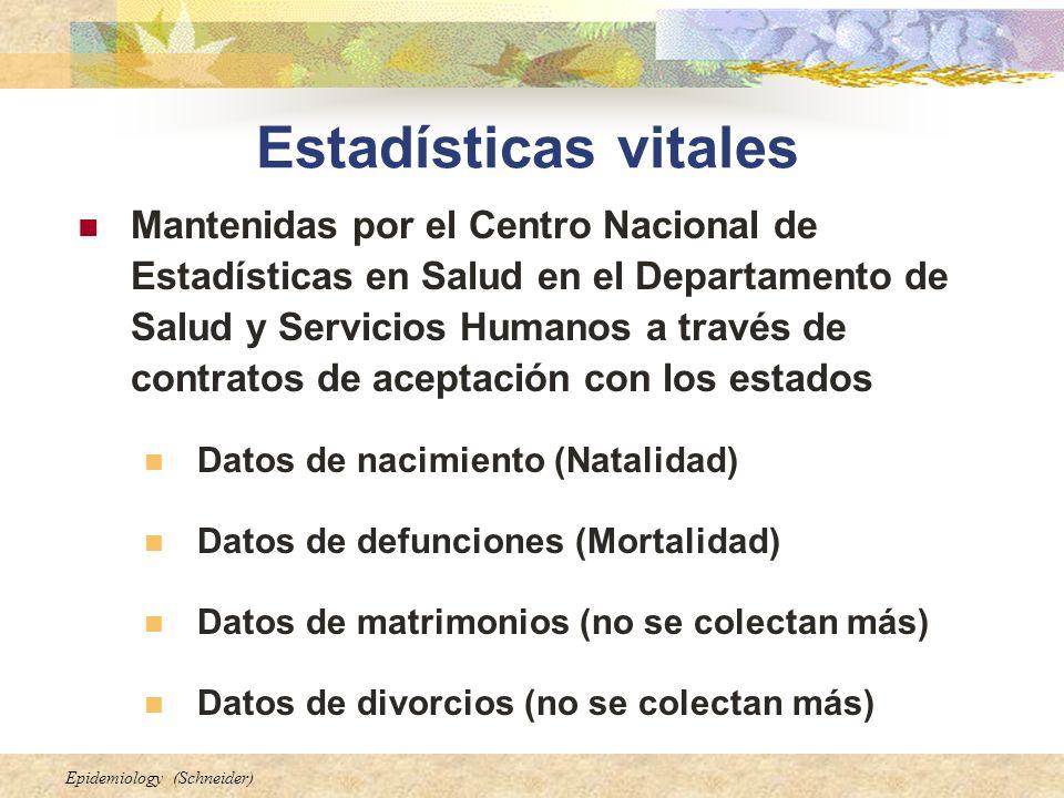 Epidemiology (Schneider) Estadísticas vitales Mantenidas por el Centro Nacional de Estadísticas en Salud en el Departamento de Salud y Servicios Human