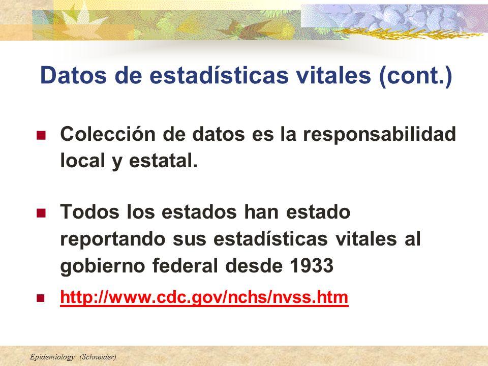 Epidemiology (Schneider) Datos de estadísticas vitales (cont.) Colección de datos es la responsabilidad local y estatal. Todos los estados han estado