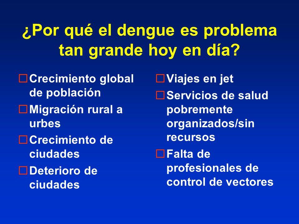 ¿Por qué el dengue es problema tan grande hoy en día? Crecimiento global de población Migración rural a urbes Crecimiento de ciudades Deterioro de ciu