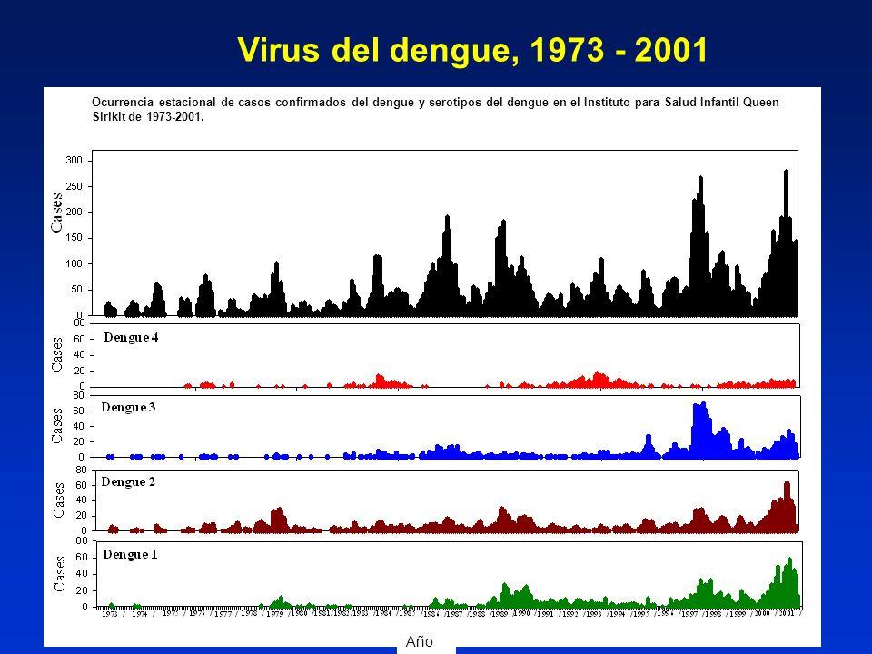 Virus del dengue, 1973 - 2001 Año Ocurrencia estacional de casos confirmados del dengue y serotipos del dengue en el Instituto para Salud Infantil Que