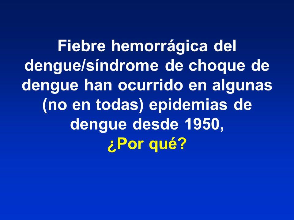 Fiebre hemorrágica del dengue/síndrome de choque de dengue han ocurrido en algunas (no en todas) epidemias de dengue desde 1950, ¿Por qué?