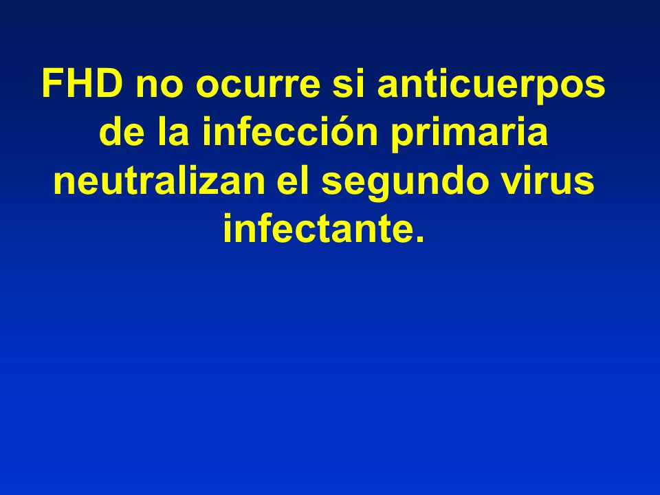 FHD no ocurre si anticuerpos de la infección primaria neutralizan el segundo virus infectante.
