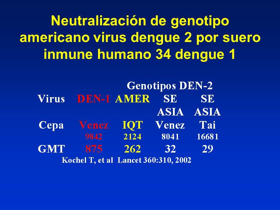 Neutralización de genotipo americano virus dengue 2 por suero inmune humano 34 dengue 1