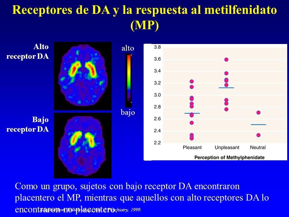 alto bajo Alto receptor DA Bajo receptor DA Receptores de DA y la respuesta al metilfenidato (MP) Como un grupo, sujetos con bajo receptor DA encontra