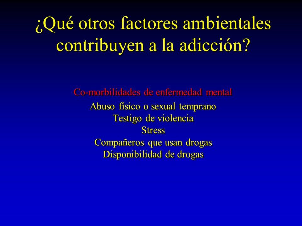 ¿Qué otros factores ambientales contribuyen a la adicción? Co-morbilidades de enfermedad mental Abuso físico o sexual temprano Testigo de violencia St