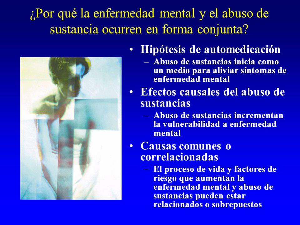 ¿Por qué la enfermedad mental y el abuso de sustancia ocurren en forma conjunta? Hipótesis de automedicación –Abuso de sustancias inicia como un medio