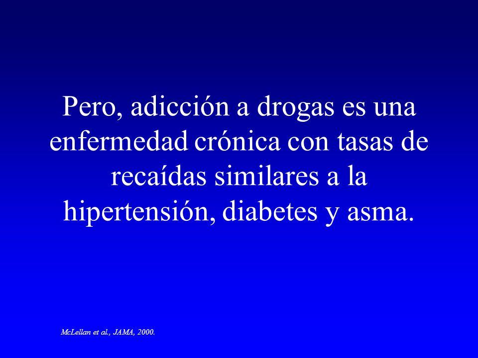 Pero, adicción a drogas es una enfermedad crónica con tasas de recaídas similares a la hipertensión, diabetes y asma. McLellan et al., JAMA, 2000.