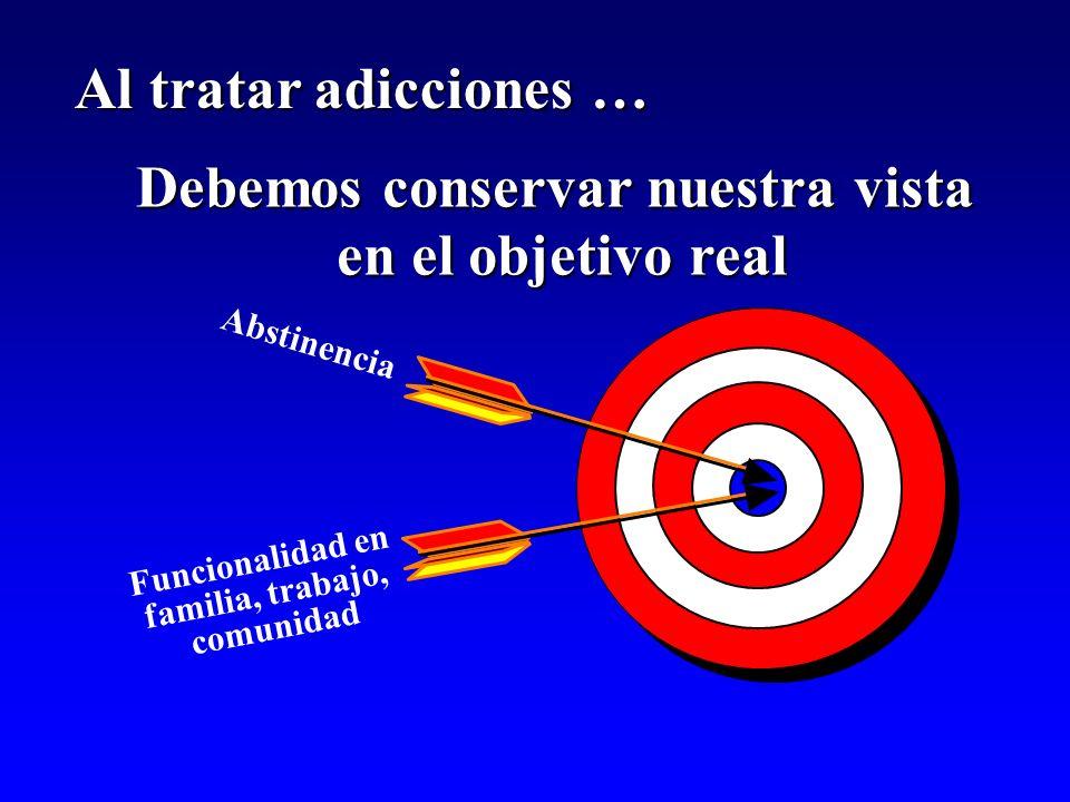 Debemos conservar nuestra vista en el objetivo real Abstinencia Funcionalidad en familia, trabajo, comunidad Al tratar adicciones …