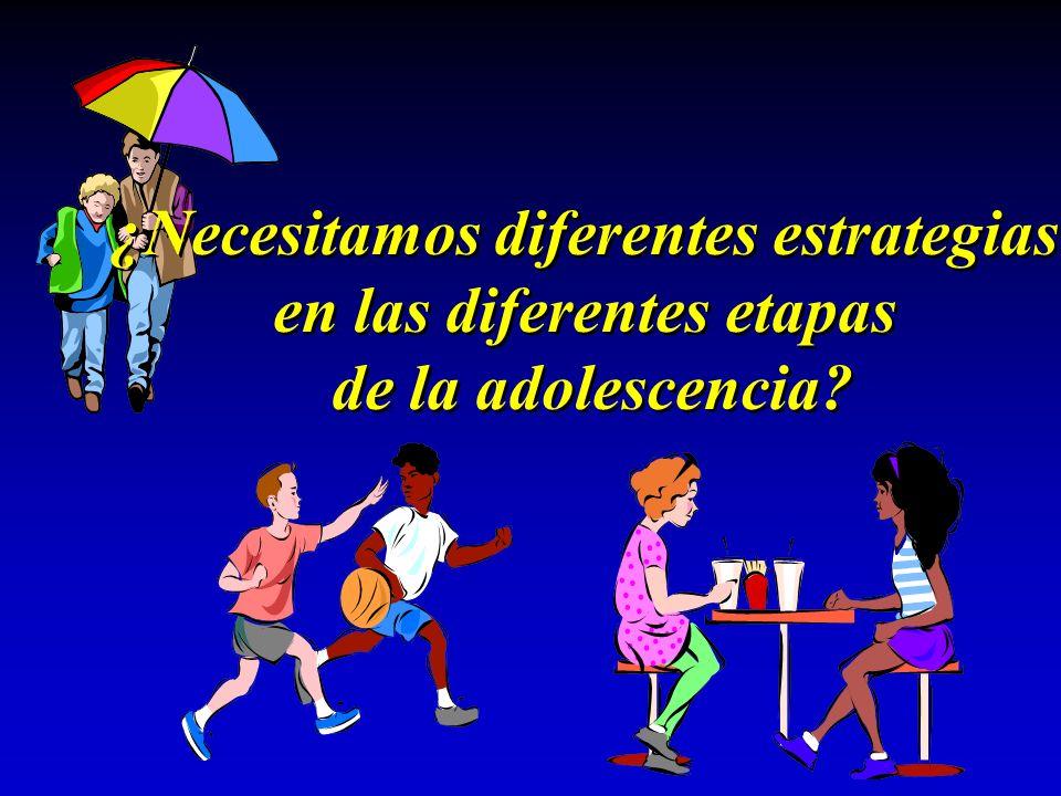 ¿Necesitamos diferentes estrategias en las diferentes etapas de la adolescencia? ¿Necesitamos diferentes estrategias en las diferentes etapas de la ad