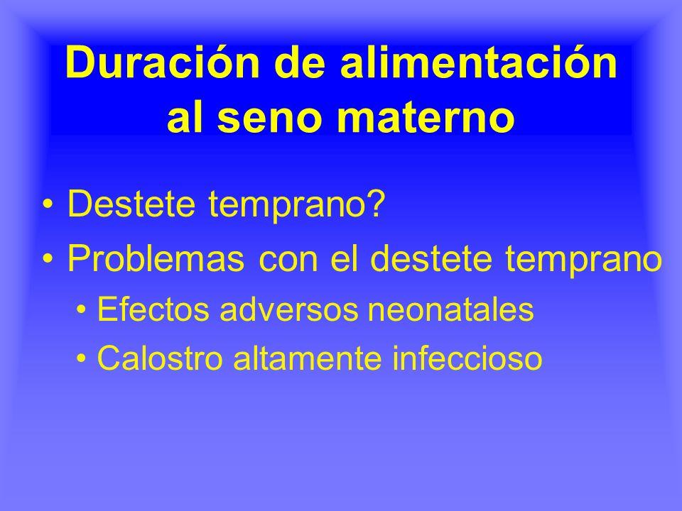 Duración de alimentación al seno materno Destete temprano? Problemas con el destete temprano Efectos adversos neonatales Calostro altamente infeccioso