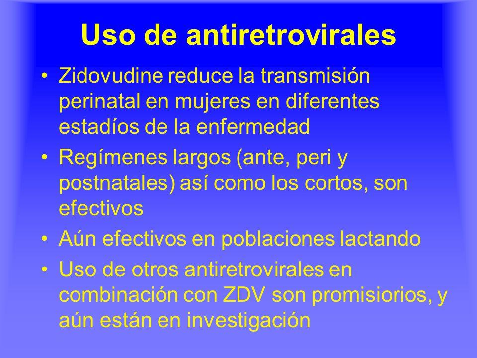 Uso de antiretrovirales Zidovudine reduce la transmisión perinatal en mujeres en diferentes estadíos de la enfermedad Regímenes largos (ante, peri y p