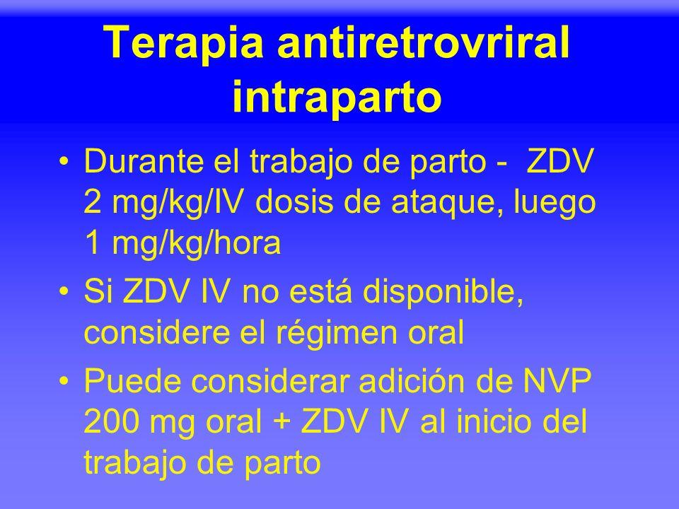 Terapia antiretrovriral intraparto Durante el trabajo de parto - ZDV 2 mg/kg/IV dosis de ataque, luego 1 mg/kg/hora Si ZDV IV no está disponible, cons