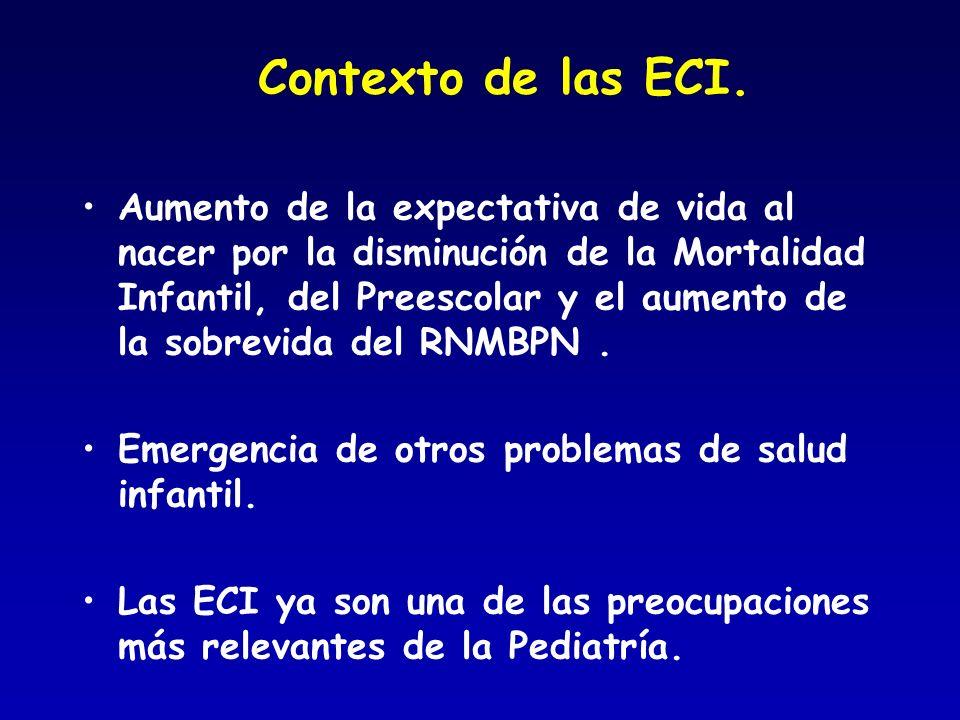 Contexto de las ECI. Aumento de la expectativa de vida al nacer por la disminución de la Mortalidad Infantil, del Preescolar y el aumento de la sobrev