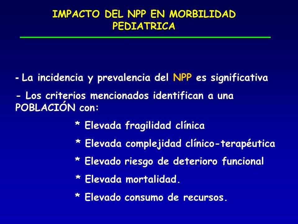 IMPACTO DEL NPP EN MORBILIDAD PEDIATRICA - La incidencia y prevalencia del NPP es significativa - Los criterios mencionados identifican a una POBLACIÓ
