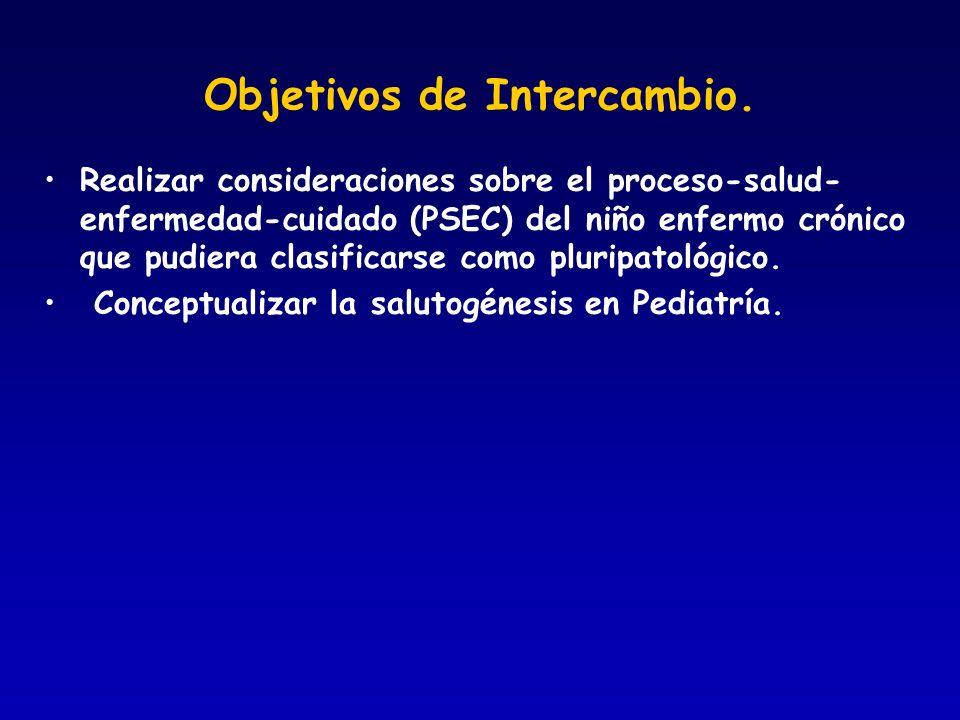 Objetivos de Intercambio. Realizar consideraciones sobre el proceso-salud- enfermedad-cuidado (PSEC) del niño enfermo crónico que pudiera clasificarse