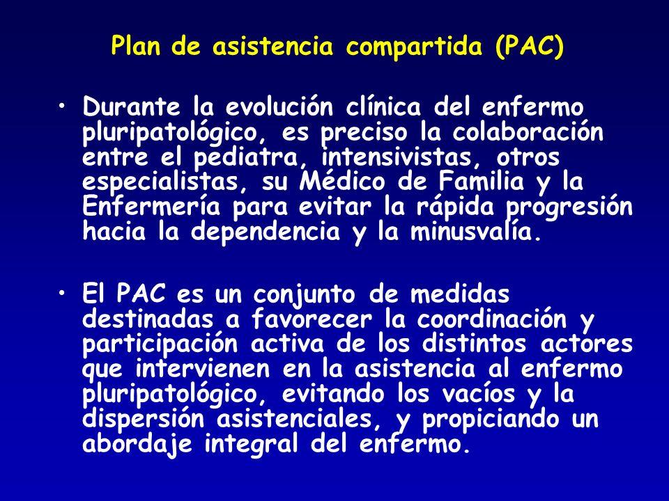 Plan de asistencia compartida (PAC) Durante la evolución clínica del enfermo pluripatológico, es preciso la colaboración entre el pediatra, intensivis