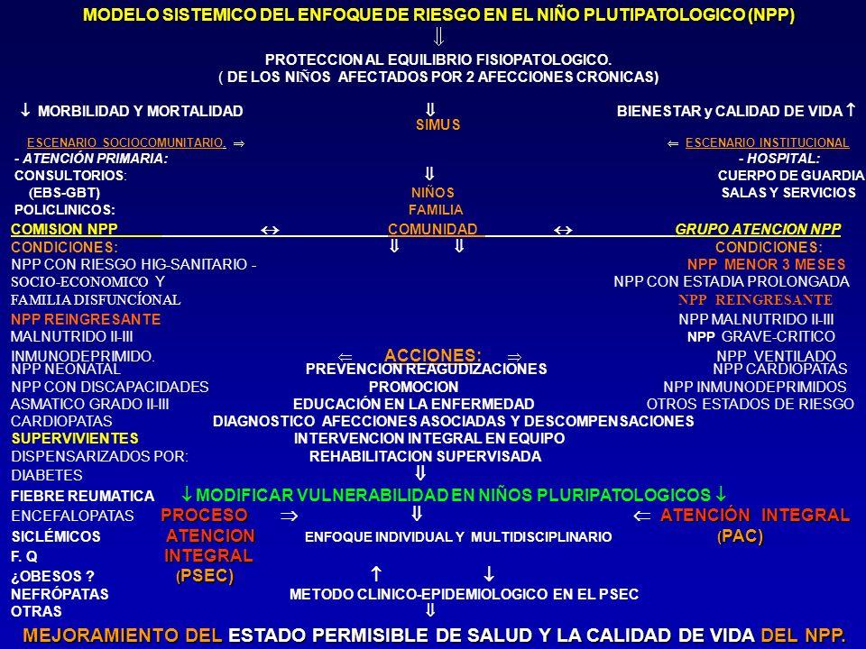 MODELO SISTEMICO DEL ENFOQUE DE RIESGO EN EL NIÑO PLUTIPATOLOGICO (NPP) PROTECCION AL EQUILIBRIO FISIOPATOLOGICO. ( DE LOS NI Ñ OS AFECTADOS POR 2 AFE