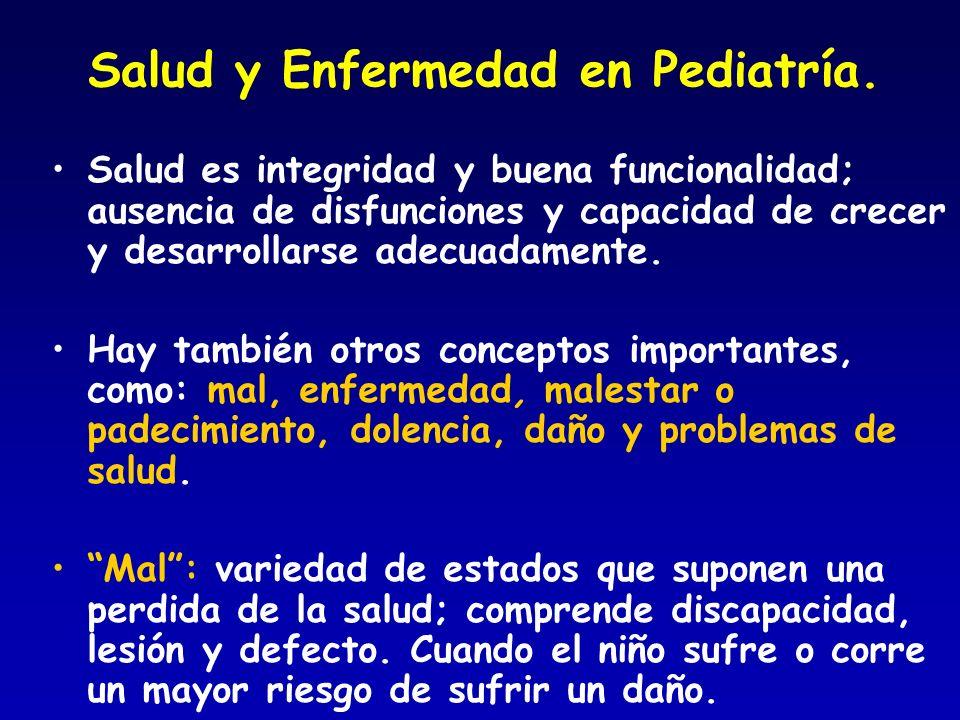 Salud y Enfermedad en Pediatría. Salud es integridad y buena funcionalidad; ausencia de disfunciones y capacidad de crecer y desarrollarse adecuadamen